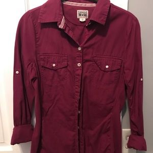 Converse button up maroon top